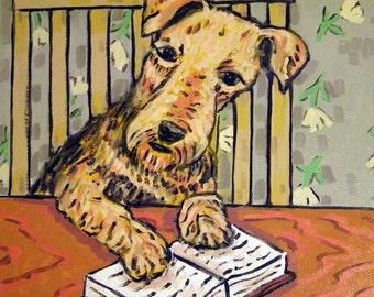 Airedale Reading a Book Dog Art TILE Coaster Gift JSCHMETZ modern abstract folk pop art american ART gift