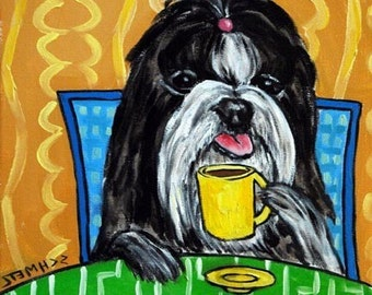 Shih Tzu at the Coffee Shop Dog Art TIle Coaster
