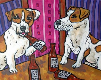 Jack Russell Terrier at the Bar Dog Art Tile Coaster Gift