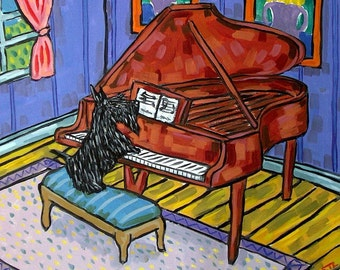Scottish Terrier Playing Piano Dog Art Tile Coaster Gift