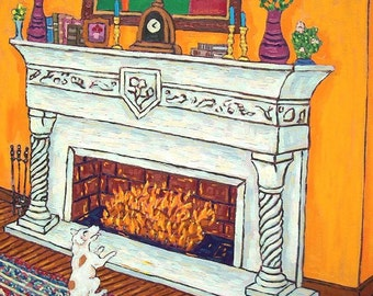 Jack Russell Terrier by the Fireplace Dog Art Tile Coaster Gift