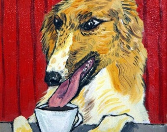 Borzoi at the Coffee Shop Dog Art Tile Coaster Gift