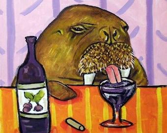 Walrus at the Wine Bar Art Tile Coaster gift JSCHMETZ american MODERN abstract folk pop art