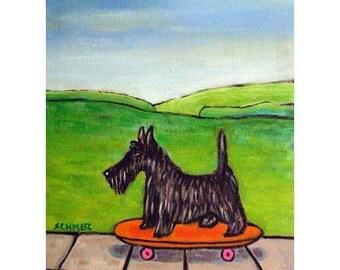 Scottish Terrier Riding a Skateboard Dog Art Print