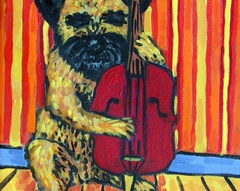 Border Terrier Playing Stand up Bass Dog Art Tile Coaster Gift