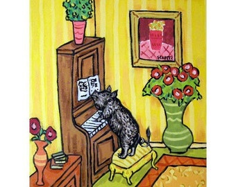 Pot Belly Pig Playing Piano Dog Art Print