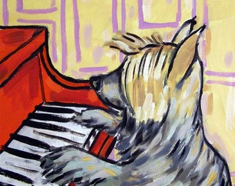 Silky Terrier Playing the Piano Dog Art Tile