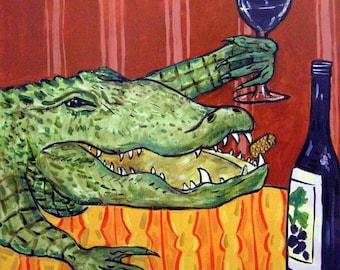 Alligator Wine Art Tile Coaster gift JSCHMETZ modern abstract folk pop art american ART