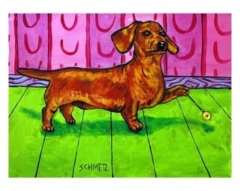 Dachshund with a Yo-Yo Dog Art print