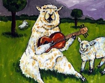 Sheep Ram Playing Guitar in Pasture Animal Art Print