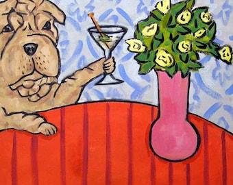 Shar Pei at the Martini Bar Dog Art Tile