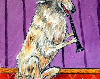 Borzoi Playing the Clarinet Dog Art Print