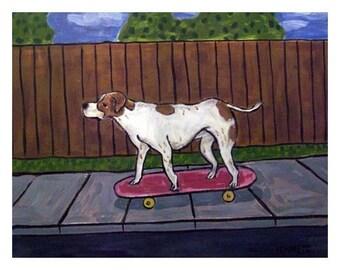Pointer Riding a Skateboard Dog Art Print