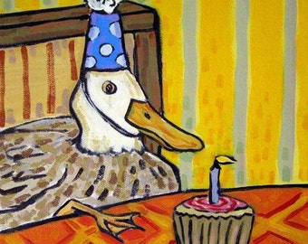 Duck Birthday Animal Art Tile Coaster gift