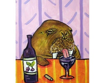 Walrus at the Wine Bar Art Print