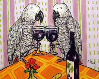 African Grey parrot at the Wine Bar Bird Art Tile Coaster JSCHMETZ MODERN abstract folk pop art AMERICANA gift