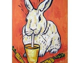Bunny Rabbit Drinking Carrot Juice Art Print
