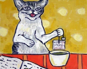 Cat , cat art, cat tile, print on tile, ceramic coaster, tea art, tea print, gift for tea lover