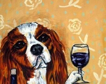 King Charles Cavalier Spaniel at the Wine Bar Dog Art Print