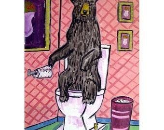 Black Bear in the Bathroom Art Print   JSCHMETZ modern abstract folk pop art AMERICAN ART gift