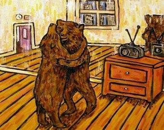 Dancing Bears - brown bear, black bear ,  print on tile, ceramic coaster, gift , modern folk abstract pop