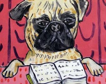 Pug, pug art, pug tile, gift for librarian, dog, dog art, dog print on tile, pug print on tile, modern folk dog art