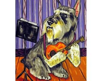 Schnauzer Playing Guitar Dog Art Print   JSCHMETZ pop art FOLK art MODern