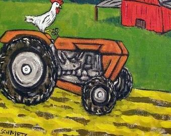 Chicken on the Farm Riding a tractor Bird Art Tile
