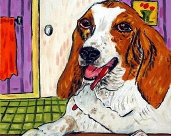 Basset Hound Brushing Teeth Dog art Tile Coaster Gift