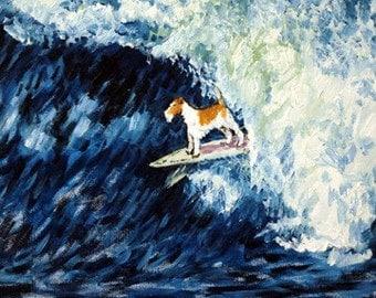 Fox Terrier Surfing Dog Art Tile Coaster Gift