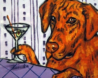 Rhodesian Ridgeback at the Martini Bar Dog Art Tile Coaster Gift