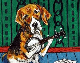 Beagle Playing Banjo Dog Art Print