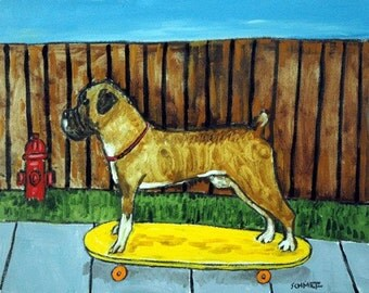 Boxer Skateboarding Dog Art Print