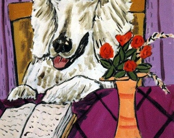 Poodle Reading Dog Art Print