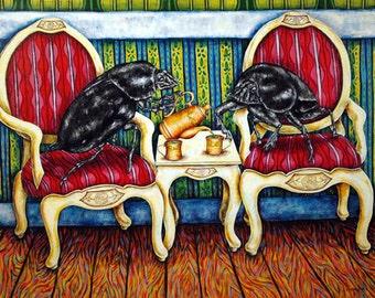 DUng Beetle Tea Time Insect  Animal Art Print 8x10