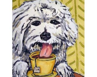 Bichon Frise Having Tea Dog Art Print