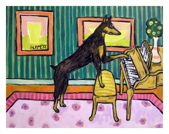 Doberman Pinscher Playing Piano Dog Art Print