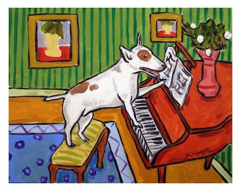 Bull Terrier Playing the Piano Dog Art Print