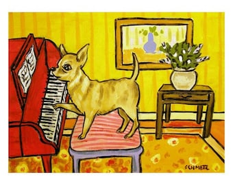 Chihuahua Playing Piano Dog Art Print