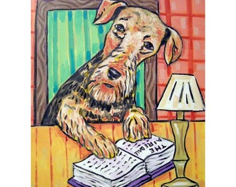 Airedale Terrier Reading a Book Dog  Art Print