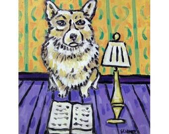 Corgi Reading  Art Print