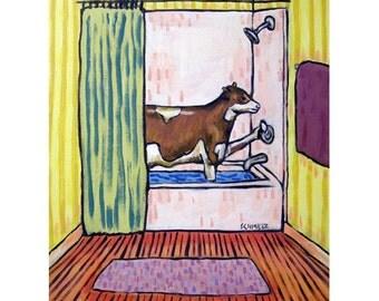 Cow Taking a Bath Art Print