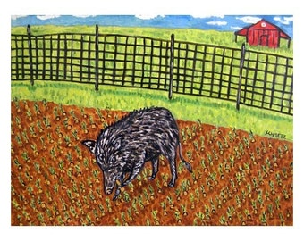 Pig in the Garden Art Print