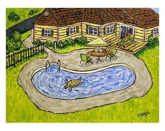 Turtle Pool Party Animal Art Print