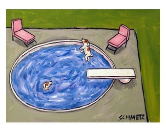 Jack Russell Terrier Pool Party Dog Art Print 8x10