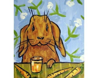 Bunny Rabbit Drinking Carrot Juice Art Print