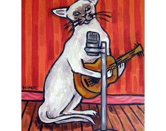 Cat Singer Songwriter Art Print 8x10