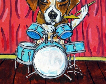 Beagle , beagle art, gift for drummer, drums, beagle PRINT, 11x14 print, modern folk art, dog art, dog print