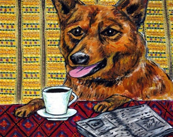 Finnish Spitz at the Coffee Shop picture Dog Art Tile Coaster Gift