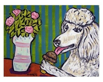 Poodle at the Ice Cream Parlour Art Print